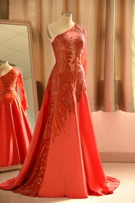 One Shoulder Sheer A-line Red Sexy Prom Dresses | Formal Evening Dresses_4
