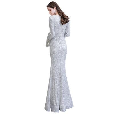 V-neck Long Sleeves Form-fitting Floor Length Burgundy Sequin Prom Dresses_31