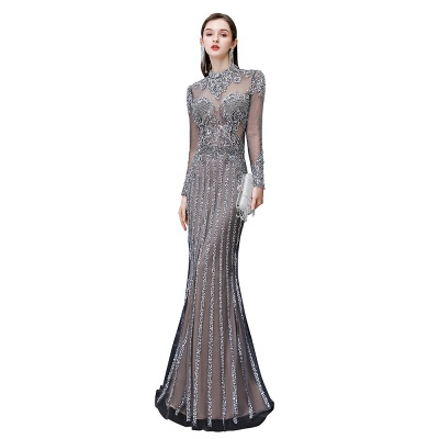 High Neck Long Sleeves Sheer Beaded Sexy Fitted Prom Dresses_11
