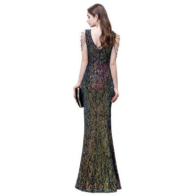 Women's Stylish V-neck Sleeveless Floor Length Thigh Slit Form-fitting Prom Dresses_4