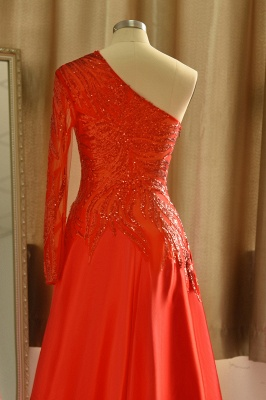 One Shoulder Sheer A-line Red Sexy Prom Dresses | Formal Evening Dresses_7