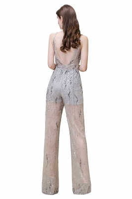 Women's Stylish Round Neck Sleeveless Open Back Beaded Sparkly Prom Jumpsuit_15