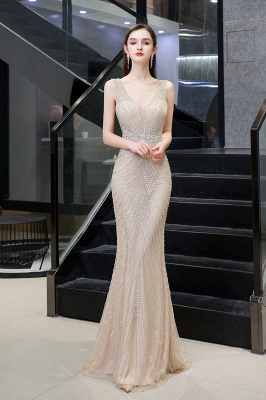 V-neck Cap Sleeves Floor Length Crystal Belt Sheath Prom Dresses_13