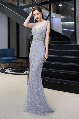 V-neck Cap Sleeves Floor Length Crystal Belt Sheath Prom Dresses_4