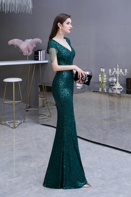 V-neck Cap Sleeves Floor Length Emerald Form-fitting Sequin Prom Dresses_4