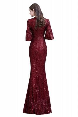 Women's Fashion Jewel Keyhole Half Sleeves Long Sequin Burgundy Prom Dresses_14