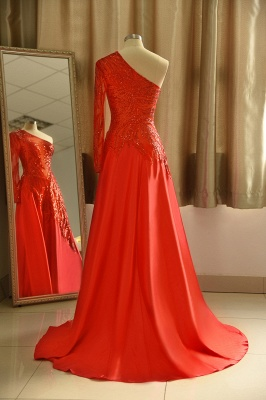 One Shoulder Sheer A-line Red Sexy Prom Dresses | Formal Evening Dresses_3