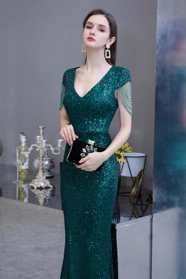 V-neck Cap Sleeves Floor Length Emerald Form-fitting Sequin Prom Dresses_6
