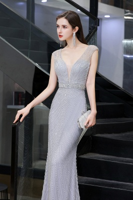 V-neck Cap Sleeves Floor Length Crystal Belt Sheath Prom Dresses_10
