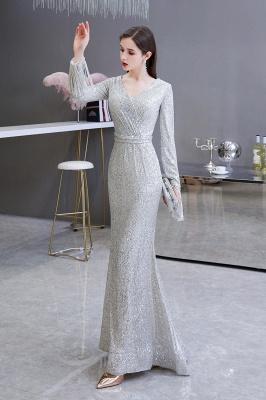 V-neck Long Sleeves Form-fitting Floor Length Burgundy Sequin Prom Dresses_4