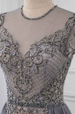Jewel Cap Sleeves Fitted Prom Dresses with Beads and Detachable Train_4