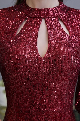 Women's Fashion Jewel Keyhole Half Sleeves Long Sequin Burgundy Prom Dresses_10