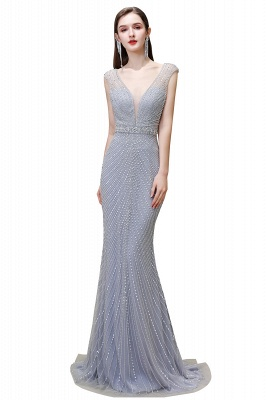 V-neck Cap Sleeves Floor Length Crystal Belt Sheath Prom Dresses_2