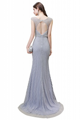 V-neck Cap Sleeves Floor Length Crystal Belt Sheath Prom Dresses_24