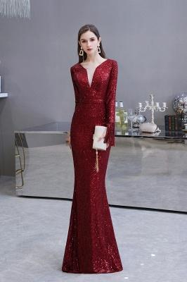 V-neck Long Sleeves Form-fitting Floor Length Burgundy Sequin Prom Dresses_3