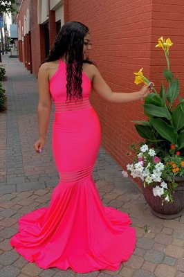 Jewel Sleeveless Unique Fit and Flare Hot Pink Prom Dresses