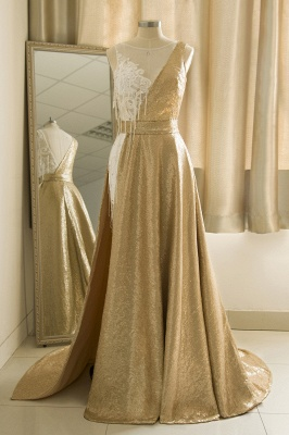 Jewel Sleeveless Lace Sequin Gold Prom Dresses | Design Formal Gown
