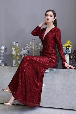 V-neck Long Sleeves Form-fitting Floor Length Burgundy Sequin Prom Dresses_22