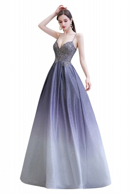 Spaghetti Straps V-neck Beaded Appliques A-line Floor Length Prom Dresses_12