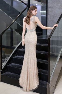 V-neck Cap Sleeves Floor Length Crystal Belt Sheath Prom Dresses_27