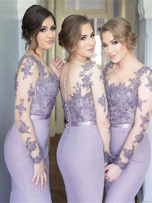 Illusion Lavender Appliques Mermaid Lace Long Sleeves Cheap Bridesmaid Dress_3