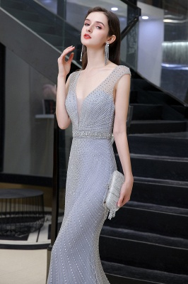 V-neck Cap Sleeves Floor Length Crystal Belt Sheath Prom Dresses_8