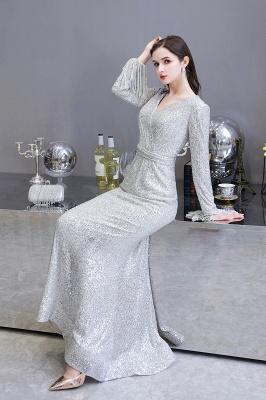V-neck Long Sleeves Form-fitting Floor Length Burgundy Sequin Prom Dresses_12