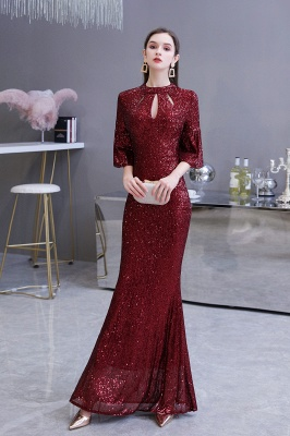 Women's Fashion Jewel Keyhole Half Sleeves Long Sequin Burgundy Prom Dresses_5