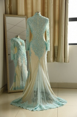 High Neck Long Sleeves Lace Mermaid Prom Dresses with Cut outs_3