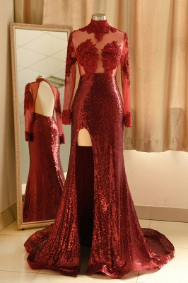 High Neck Sheer Sexy Fitted Prom Dresses with Long Sleeves and Side Slit