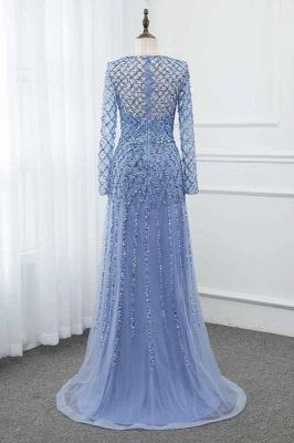 Jewel Keyhole Long Sleeves A-line Light Blue Prom Dresses with Beads_2