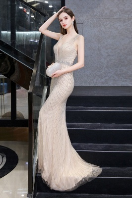 V-neck Cap Sleeves Floor Length Crystal Belt Sheath Prom Dresses_16