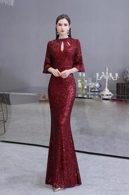 Women's Fashion Jewel Keyhole Half Sleeves Long Sequin Burgundy Prom Dresses_2