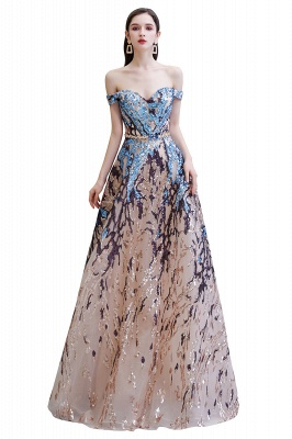 Off the Shoulder Sweetheart Beaded Belted Sparkly A-line Prom Dresses_1
