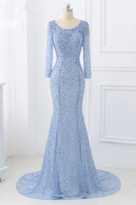 Elegant Light Blue Beaded Round Neckline Fitted Prom Dresses with Long Sleeves