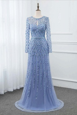 Jewel Keyhole Long Sleeves A-line Light Blue Prom Dresses with Beads