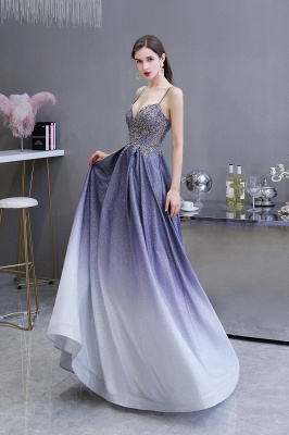 Spaghetti Straps V-neck Beaded Appliques A-line Floor Length Prom Dresses_4