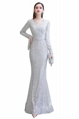 V-neck Long Sleeves Form-fitting Floor Length Burgundy Sequin Prom Dresses_2