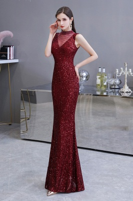 Women's Fashion High Neck Sleeveless Long Sparkly Sequin Form-fitting Prom Dresses_4