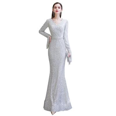 V-neck Long Sleeves Form-fitting Floor Length Burgundy Sequin Prom Dresses_24
