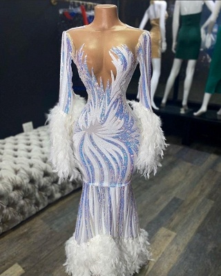 Bateau Neckline Gorgeous Mermaid Feather Prom Dresses with  Long Sleeves_2