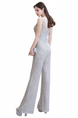 Women's Fashion V-neck Straps Sparkly Sequin Prom Jumpsuit_24