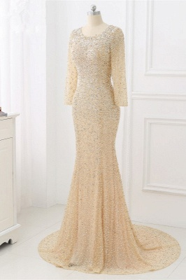 Elegant Light Blue Beaded Round Neckline Fitted Prom Dresses with Long Sleeves_8