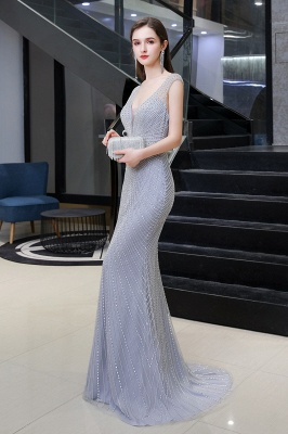 V-neck Cap Sleeves Floor Length Crystal Belt Sheath Prom Dresses_6