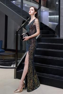 Women's Stylish V-neck Sleeveless Floor Length Thigh Slit Form-fitting Prom Dresses_11