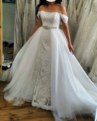 Off The Shoulder Lace Sash A Line Wedding Dresses With Detachable Skirt_2