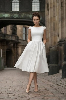 Jewel Cap Sleeves A-line Stiff Grace Tea Length Wedding Party Dresses_1