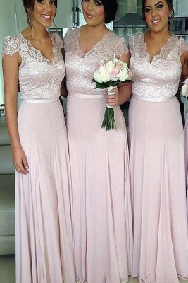 V-Neck Lace A-Line Bridesmaid Dresses Short Sleeve Floor Length Prom Gowns_1