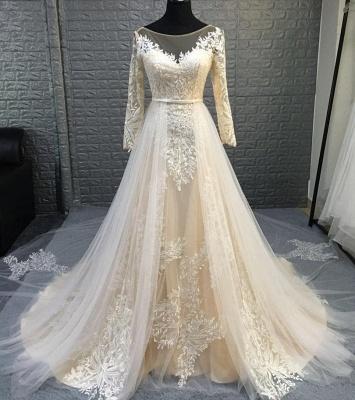 Graceful Jewel Long Sleeve Lace Sash A Line Wedding Dress With Detachable Train_2