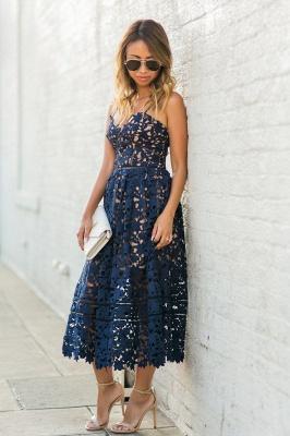 Women's Grace Spaghetti Straps V-neck Lace Tea Length Party Dresses for Weddingg_4